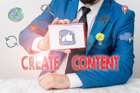 Conceptual hand writing showing Create Content. Concept meaning something that is to be expressed through some medium