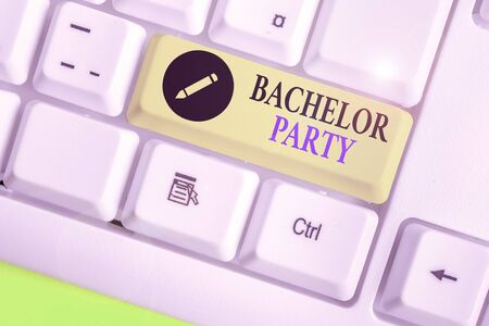 Word writing text Bachelor Party. Business photo showcasing a party given for a analysis who is about to get married