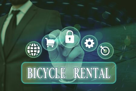 Conceptual hand writing showing Bicycle Rental. Concept meaning a business which rents out bikes to tourists or travellers