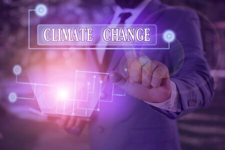 Word writing text Climate Change. Business photo showcasing change in the expected pattern of average weather of a region Stock Photo