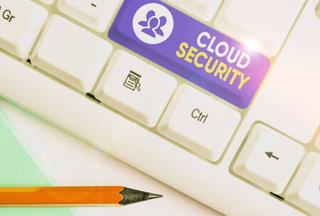 Writing note showing Cloud Security. Business concept for protection of data stored online from theft and deletion