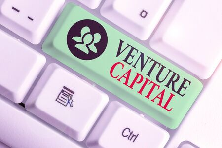 Word writing text Venture Capital. Business photo showcasing capital invested in a project in which there is risk