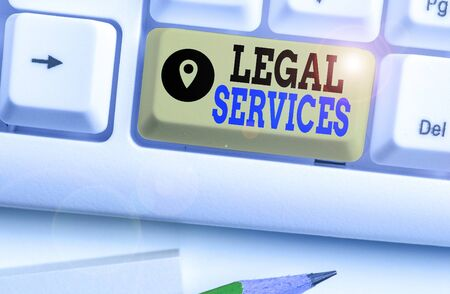 Writing note showing Legal Services. Business concept for any services involving legal or law related matters