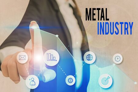Word writing text Metal Industry. Business photo showcasing primarily concerned with metallurgy and metalworking Zdjęcie Seryjne