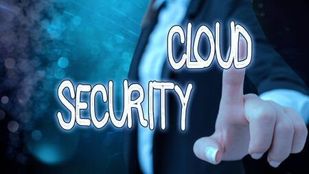 Text sign showing Cloud Security. Business photo text protection of data stored online from theft and deletion