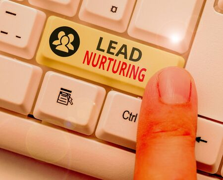 Conceptual hand writing showing Lead Nurturing. Concept meaning method of building a relationship with potential customers