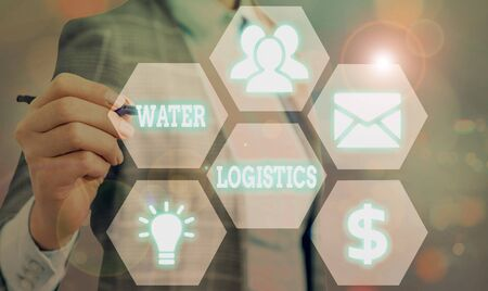 Text sign showing Water Logistics. Business photo showcasing the management of the flow of things from port to consumer