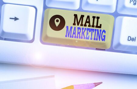 Writing note showing Mail Marketing. Business concept for act of sending a commercial message to a group of showing