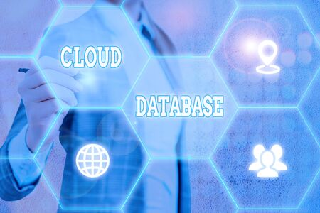 Conceptual hand writing showing Cloud Database. Concept meaning optimized or built for a virtualized computing environment