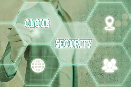 Conceptual hand writing showing Cloud Security. Concept meaning protection of data stored online from theft and deletion Stock fotó