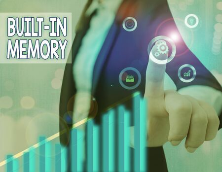 Text sign showing Built In Memory. Business photo text device or feature are included in something as a part of it