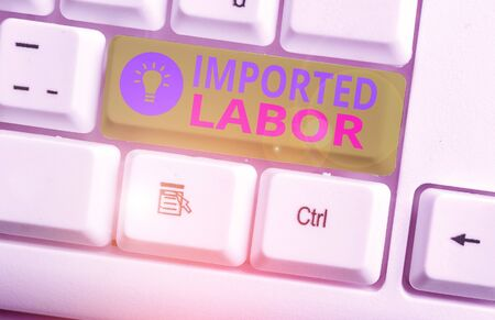 Conceptual hand writing showing Imported Labor. Concept meaning human who works in a country which he or she is not a citizen