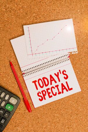 Writing note showing Today Special. Business concept for a day that filled with surprising events Unordinary day Desk notebook paper office paperboard study supplies chart