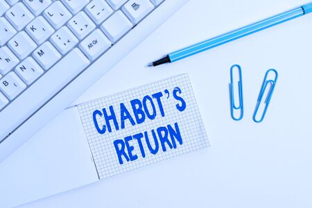 Conceptual hand writing showing Chabot S Return. Concept meaning the come back of conversation via auditory or textual method White pc keyboard with paper and paper clip above white background