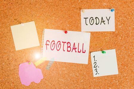 Word writing text Football. Business photo showcasing any of various forms of team game involving kicking a ball Corkboard color size paper pin thumbtack tack sheet billboard notice board