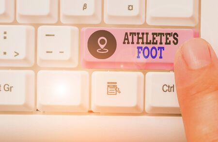 Conceptual hand writing showing Athlete Foot. Concept meaning a fungus infection of the foot marked by blisters