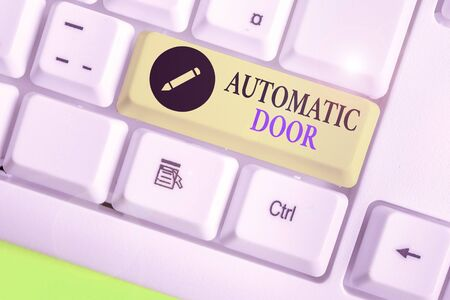 Word writing text Automatic Door. Business photo showcasing opens automatically when sensing the approach of person