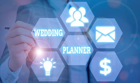 Text sign showing Wedding Planner. Business photo showcasing someone who plans and organizes weddings as a profession