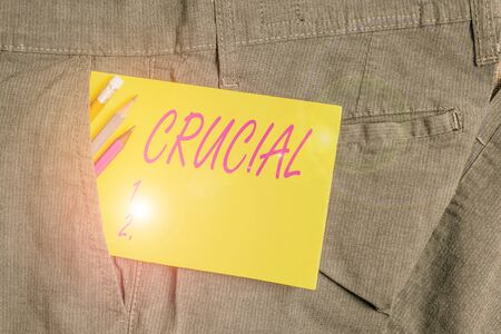 Writing note showing Crucial. Business concept for critical especially in the success or failure of something Writing equipment and yellow note paper inside pocket of man trousers