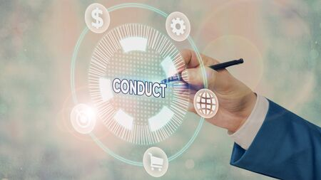 Conceptual hand writing showing Conduct. Concept meaning manner in which an organization or activity is managed or directed