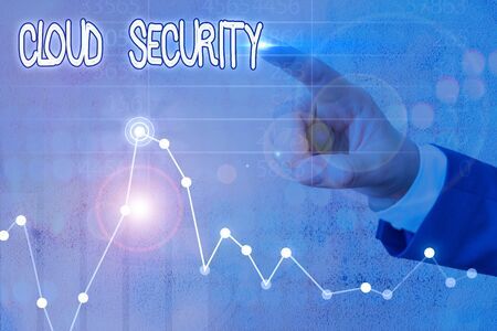 Word writing text Cloud Security. Business photo showcasing protection of data stored online from theft and deletion