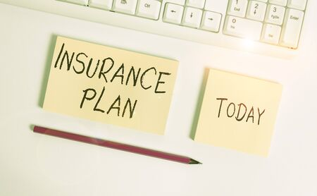 Conceptual hand writing showing Insurance Plan. Concept meaning something showing buy to protect themselves from losing money Flat lay above copy space sticky notes with business concept