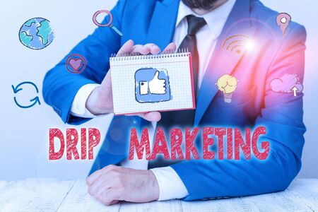 Conceptual hand writing showing Drip Marketing. Concept meaning sending promotional pieces to current and potential clients