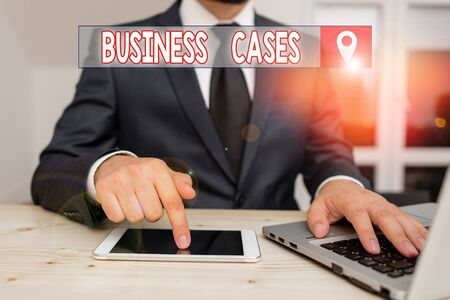 Text sign showing Business Cases. Business photo showcasing undertaking on the basis of its expected commercial benefit Male human wear formal clothes present presentation use hi tech smartphone