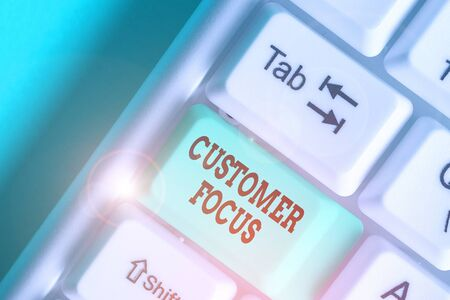 Writing note showing Customer Focus. Business concept for orientation of an organization in serving its clients needs