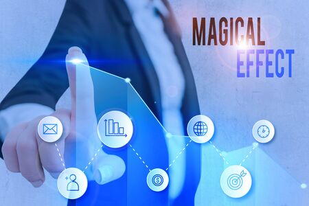Word writing text Magical Effect. Business photo showcasing produced by or as if by magic a magical transformation words