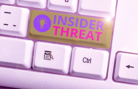 Conceptual hand writing showing Insider Threat. Concept meaning security threat that originates from within the organization
