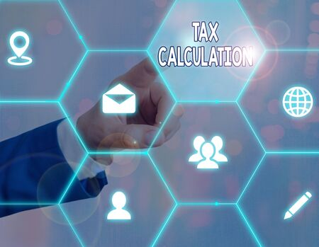 Word writing text Tax Calculation. Business photo showcasing an assessment of how much to pay to the government Banco de Imagens