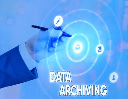 Conceptual hand writing showing Data Archiving. Concept meaning to secure and to store data for long term retention