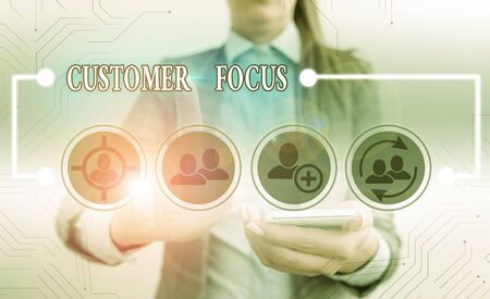Text sign showing Customer Focus. Business photo text orientation of an organization in serving its clients needs Banque d'images