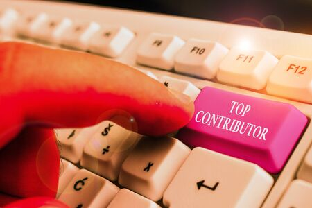 Handwriting text writing Top Contributor. Conceptual photo demonstrating who is knowledgeable in a particular category