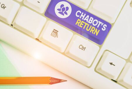 Writing note showing Chabot S Return. Business concept for the come back of conversation via auditory or textual method