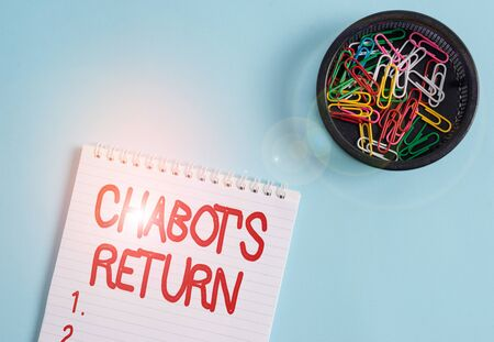 Conceptual hand writing showing Chabot S Return. Concept meaning the come back of conversation via auditory or textual method Blank notebook and stationary placed above pastel colour backdrop