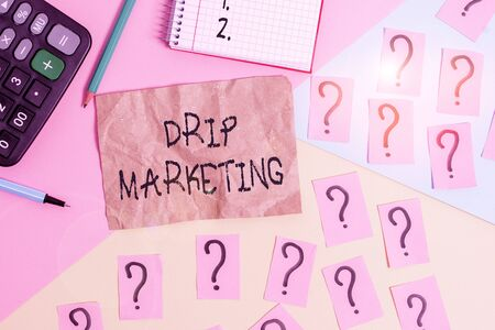 Word writing text Drip Marketing. Business photo showcasing sending promotional pieces to current and potential clients Mathematics stuff and writing equipment above pastel colours background
