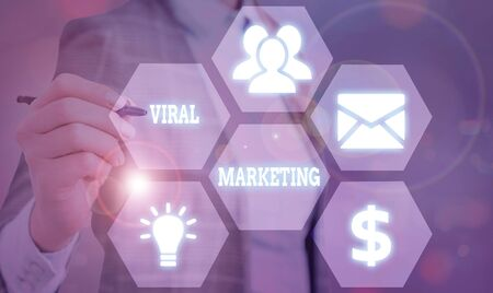 Text sign showing Viral Marketing. Business photo showcasing spreading information and opinions about a product Stock Photo
