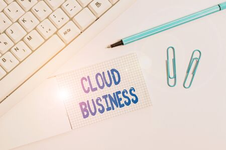 Conceptual hand writing showing Cloud Business. Concept meaning computing that relies on shared computing resources White pc keyboard with paper and paper clip above white background 版權商用圖片