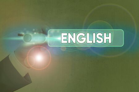 Conceptual hand writing showing English. Concept meaning Related to England showing language culture British Literature class Banco de Imagens