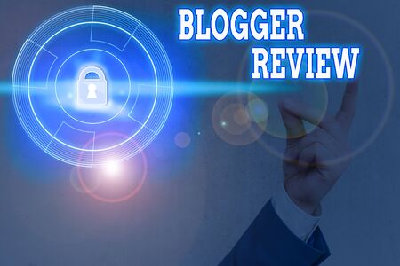 Word writing text Blogger Review. Business photo showcasing making a critical reconsideration and summary of a blog