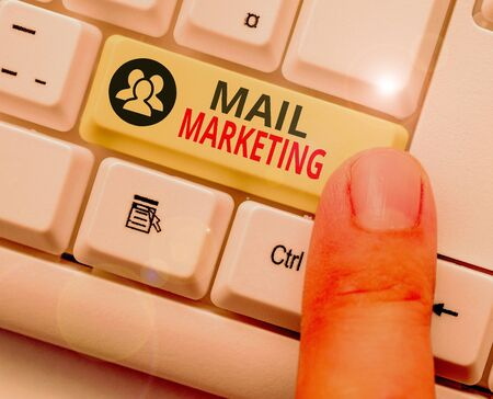 Conceptual hand writing showing Mail Marketing. Concept meaning act of sending a commercial message to a group of showing