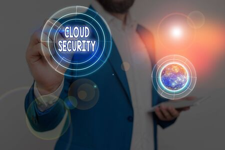Handwriting text Cloud Security. Conceptual photo protection of data stored online from theft and deletion Banque d'images