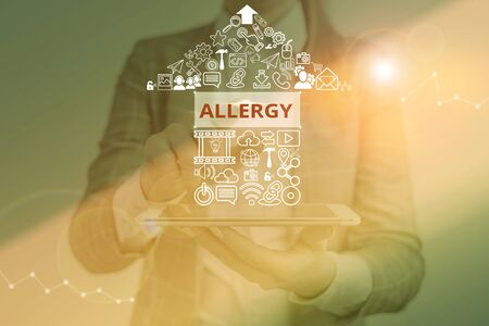 Writing note showing Allergy. Business concept for Hypersensitive of the immune system towards particular substance