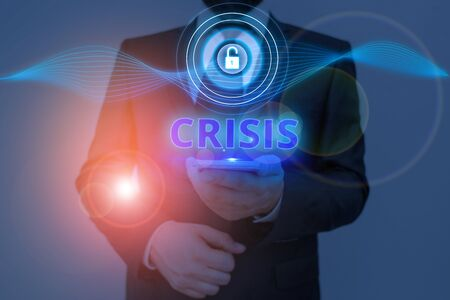 Text sign showing Crisis. Business photo text time when difficult or important decision must be made danger Stockfoto