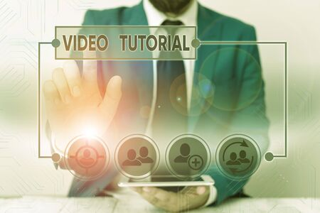 Word writing text Video Tutorial. Business photo showcasing method of transferring knowledge through audiovisual clips