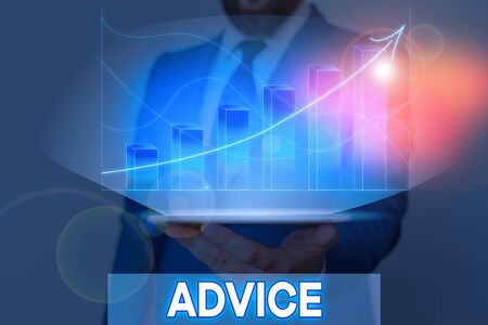 Writing note showing Advice. Business concept for guidance or recommendations offered with regard prudent action