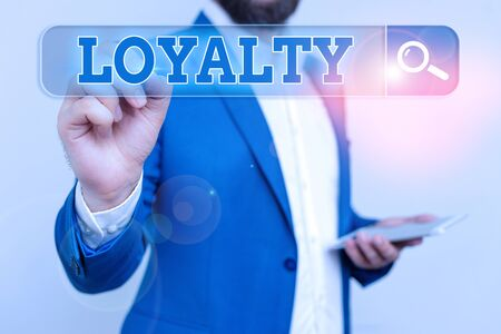 Conceptual hand writing showing Loyalty. Concept meaning faithfulness to commitments or obligations Quality of staying firm