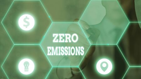 Word writing text Zero Emissions. Business photo showcasing emits no waste products that pollute the environment Stock Photo